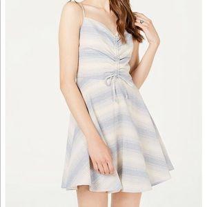 Trixxi Juniors' Striped Ruched Fit & Flare Dress